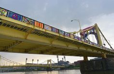 Andy Warhol Bridge *knit the bridge* is done....monday 8-12-13......yarn bombed with 600 colorful blankets!! :-)