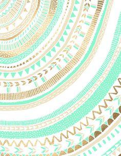 Mint + Gold Tribal Canvas Print