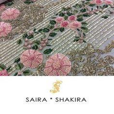Sneak a peek of Bridals! Zardosi Embroidery, Tambour Embroidery, Hand Work Embroidery, Types Of Embroidery, Indian Embroidery, Hand Embroidery Designs, Embroidery Patterns, Saira Shakira, Lesage