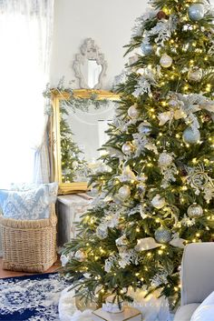 French blue and gold Christmas decor ideas.