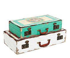 Set de 2 cajas de madera y metal Maleta - blanca y azul