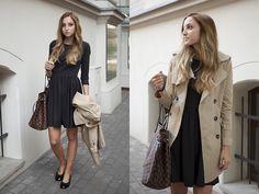 Louis Vuitton Bag, Delie Dress, Sheinside Coat, Hispanitas Flats
