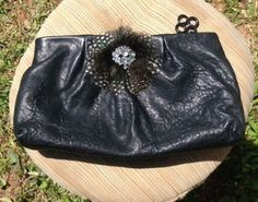 Stella & Dot Black Pebbled Leather Clutch With Jeweled Feather Green Inside     NC-treasure.com