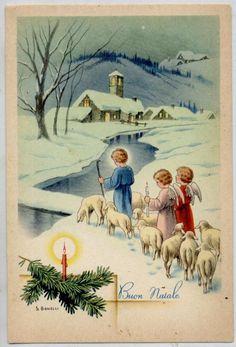 BONELLI Angeli Bambini con Pecore Neve Natale Xmas Child Angels PC Circa 1940