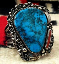 Stormy Mountain turquoise is a dark blue turquoise that is suitably named for its distinctive blotchy black chert matrix that resembles storm clouds.