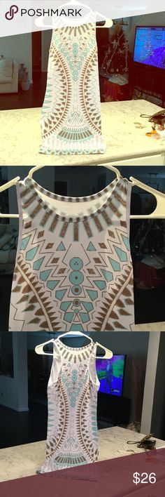 "GORGEOUS ❤️️  Body Con Summer Dress Such a show stopper ! Beautiful racer back midi dress. Bronze and light Turquoise blue on white in a delicious tribal pattern. True to size. Measures 30"" long and 16"" arm to arm. Light weight fabric has stretch. Dresses Midi"