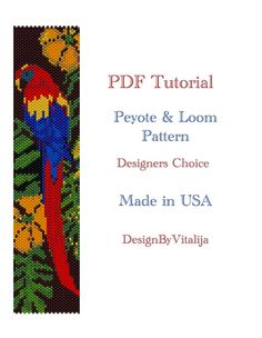 Peyote and Loom Work Tutorial , easy to follow ! Gorgeous Macau Parrot Pattern! Once you download PDF tutorials you will get 2 pdfs for peyote and loom work. Pattern contains 14 colors of 11/0 delica seed beads. For the finish just add sliding tube claps with or without extended Peyote Beading Patterns, Loom Beading, Seed Bead Bracelets, Seed Beads, Pixel Art Templates, Beaded Banners, Beading Needles, Beaded Animals, Beaded Bracelets