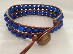 leather bracelet brown leather by UniqueDScandinavia Handmade Art, Handmade Gifts, I Shop, Brown Leather, Dark Blue, Crafty, Gemstones, Group, Trending Outfits