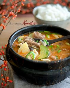 How to make delicious and comforting Korean doenjang jjigae (soybean paste stew) with beef. Step by step photographed tutorial included.