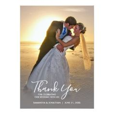 Handwriting Vertical Photo Wedding Thank You Card - cyo customize create your own #personalize diy