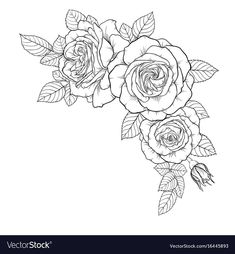 beautiful black and white bouquet rose and leaves. Floral arrangement isolated o… beautiful black and white bouquet rose and leaves. Leg Tattoos, Arm Tattoo, Sleeve Tattoos, Bridesmaid Bouquet White, White Wedding Bouquets, Bouquet Wedding, Small Flower Tattoos, Rose Leaves, Leaves Vector