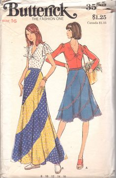Butterick 3555  1970s Misses Bias SWIRL SKIRT and Pullover Empire Waist Flutter Sleeve Top pattern womens vintage sewing pattern by mbchills