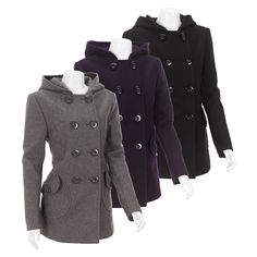 $49 Burlington double-breasted woolen peacoat with hood - love the pockets Autumn Winter Fashion, Winter Style, Fall Fashion, Fashion Tips, Work Casual, Casual Wear, Sweet Style, My Style, Affordable Plus Size Clothing