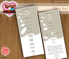 Custom Wedding Program white feather Rustic chic typographic style elegant Typography card clipart - printable file(w0018), by TeeshaDerrick at Etsy.com