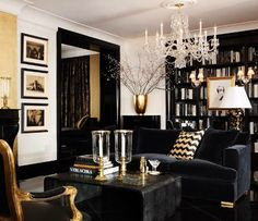 black, gold and white interior design & decor ideas - living room luxury homes, modern interior design, interior design inspiration . Visit www. House Design, Home Living Room, Interior, Home, White Decor, House Interior, Gold Living Room, Interior Design, Home And Living