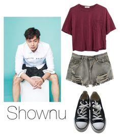 """""""Ideal Type: Shownu"""" by kookiechu ❤ liked on Polyvore featuring Converse, Madewell and WithChic"""
