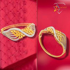 Gorgeous set of Bracelet blooming with Diamonds and Yellow Sapphires which will add a Sophisticated Glow to your Outfit. #Classy #Charming #Grand #Bracelet #Zurie