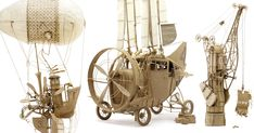 """Imaginative Industrial Flying Machines Made From Cardboard by Daniel Agdagby Johnny Strategy"" :: Click thru for more"