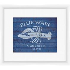 Add coastal-chic appeal to your entryway or kitchen with this framed and matted giclee print, showcasing a distressed lobster motif in blue....