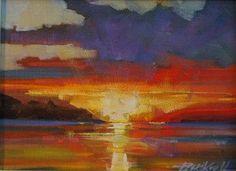"""""""Island Sunset"""" - Original Fine Art for Sale - © Brian Buckrell"""
