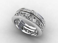 Engagement ring set with filigree engagement ring and half eternity diamond band by TorkkeliJewellery, $2290.00
