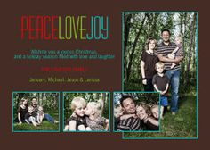 Mixbook Peace, Love, Joy Collage Holiday Photo Cards