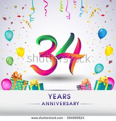 34th Anniversary Celebration Design, with gift box, balloons and confetti, Colorful Vector template elements for your, thirty four years birthday celebration party.