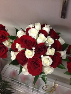 White & Red Bridal Bouquet With a Touch of Bling.