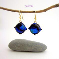 Shimmering Deep Blue Ocean Dangling Dichroic Glass Hook Earrings | Umeboshi - Jewelry on ArtFire