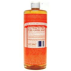 Dr. Bronners Tea Tree 32 oz. by Dr. Bronner's Magic Soaps. $11.71. Dissolves Sluggishness and Sloth of Spirit.. Makes an Intense, Invigorating Shower.. Made with Organic Oils.. Dr. Bronners tea tree oil is a natural antiseptic that helps heal cuts and bruises as well as skin conditions like acne dermatitis and psoriasis. All oils and essential oils are certified organic to the National Organic Standards Program. Packaged in 100 percent post-consumer recycled plastic bottles.
