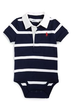 Ralph Lauren Rugby Stripe Bodysuit (Baby Boys) available at Nordstrom baby babyclothesne&; Ralph Lauren Rugby Stripe Bodysuit (Baby Boys) available at Nordstrom baby babyclothesne&; Baby Outfits Newborn, Baby Boy Newborn, Baby Boy Outfits, Baby Gap, Striped Bodysuit, Baby Bodysuit, Baby Boy Fashion, Kids Fashion, French Baby Clothes