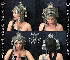 PLEASE READ ENTIRE DESCRIPTION BEFORE PURCHASING  This headdress is made with some very rare antique pieces. The base is a large Turkoman headpiece that has three rows of metal. I have added two very large disks to the sides. These medallions measure 4 in diameter and have metal charms and extra metal loops for hanging more stuff if you want. I added a few Turkoman buttons around the back crown area. A nice red jeweled large bindi hangs in the front middle. I put a sunburst shaped crown at…
