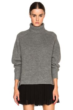 Image 1 of Isabel Marant Etoile Laney Alpaca Ribs Turtleneck Sweater in Grey