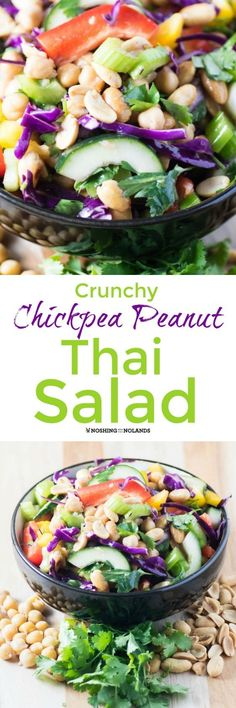 Crunchy Chickpea Peanut Thai Salad by Noshing With The Nolands is delicious over grilled chicken, fish or steak or serve as is. A delectable way to add more pulses to your diet! #ad