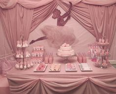 ballerina pink party dessert table.  this site has pretty ideas for little girl ballerina parties