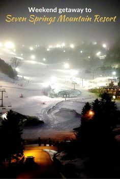 Ski getaway weekend in Seven Springs Mountain Resort in Pennsylvania, USA Family Road Trips, Family Travel, Family Ski, Seven Springs Resort, Ski Vacation, Vacation Ideas, Amazing Destinations, Travel Destinations, Mountain Resort