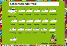 Sinterklaas Schoenkalender: 's Avonds in de schoen en de volgende ochtend heeft Piet aangegeven welke dagen het schoentje gezet mag worden. (opgroeikaarten.nl)