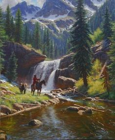 The Adventurer by Mark Keathley ~ waterfall river mountains pine trees mountain man on horseback pack mule