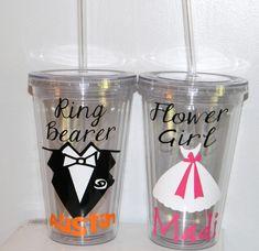 Personalized Flower Girl or Ring Bearer CupTumbler Wedding -   Flower Girl Ring Bearer- Any Color Any Design Custom.  Cute gifts!