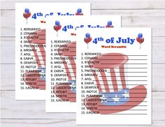 4th Of July Games, 4th Of July Party, Fourth Of July, Independence Day Game, Graduation Party Games, American Games, Printables, Elk, Digital