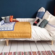 Indigo and mustard kids room - so unusual and striking - Camomile London
