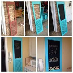 This DIY project gives new life to old shutters. Could you use a chalkboard in your kitchen? This is an easy project that even the kids can help with. Old Shutters Decor, Modern Shutters, Shutter Decor, Window Shutters, Repurposed Shutters, Window Shutter Crafts, Window Frames, Repurposed Furniture, Diy Furniture