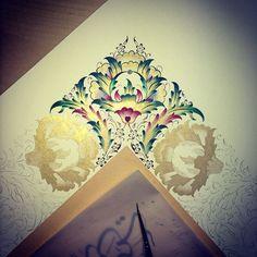 Arabic Design, Arabic Art, Islamic Calligraphy, Calligraphy Art, Illumination Art, Arabic Pattern, Persian Motifs, Islamic Patterns, Turkish Art