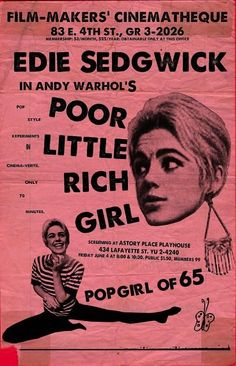 Beauty #2 / Poor Little Rich Girl / Lupe #EdieSedgwick #AndyWarhol She did die of an overdose,but Valerie Solanis shot his ass for him trying to steal her work too,but after she died in poverty: