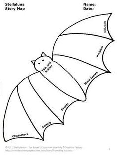 FREE Download Stellaluna Book Graphic Organizer for Halloween Bats Activities: You will receive two printable parts of a story worksheets for 1st grade, 2nd grade and special education students to practice reading comprehension story elements.
