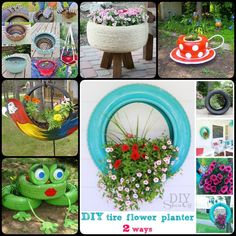 DIY tire planter is a great way to recycle tires to have a good selection for home and garden beauty addition along with marvelous protection coverage. Tire Planters, Flower Planters, Garden Planters, Flower Pots, Backyard Projects, Diy Projects, Tire Garden, Body Shop At Home, Tyres Recycle