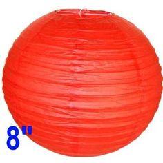 "Red Chinese/Japanese Paper Lantern/Lamp 8"" Diameter - Just Artifacts Brand"