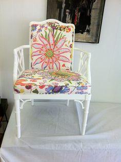 "Chair redo... Josef Frank fabric / ""Brazil"" pattern"