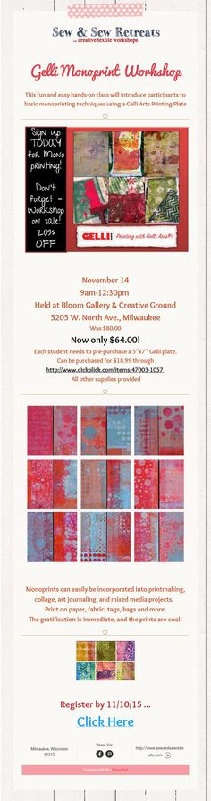 This fun and easy hands-on class will introduce participants to basic monoprinting techniques using a Gelli Arts Printing Plate Gelli Arts, Gelli Printing, Printmaking, November, Workshop, Collage, Art Prints, Sewing, Creative