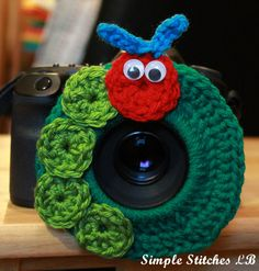 Crochet Caterpillar Camera Lens Buddy